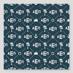 """Alpha Epsilon Pi Pattern Blue Square Car Magnet 3"""""""