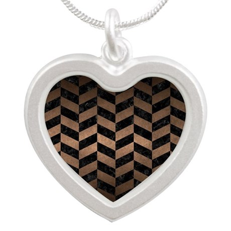 CHEVRON1 BLACK MARBLE & BRON Silver Heart Necklace