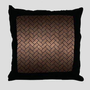 BRICK2 BLACK MARBLE & BRONZE METAL (R Throw Pillow