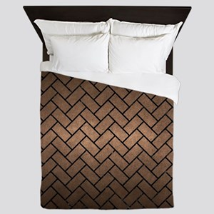 BRICK2 BLACK MARBLE & BRONZE METAL (R) Queen Duvet