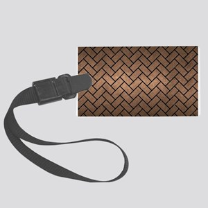 BRICK2 BLACK MARBLE & BRONZE MET Large Luggage Tag