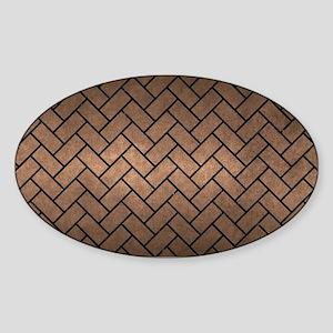 BRICK2 BLACK MARBLE & BRONZE METAL Sticker (Oval)