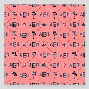 """Alpha Epsilon Pattern Coral Square Car Magnet 3"""" x"""