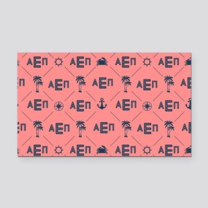 Alpha Epsilon Pattern Coral Rectangle Car Magnet