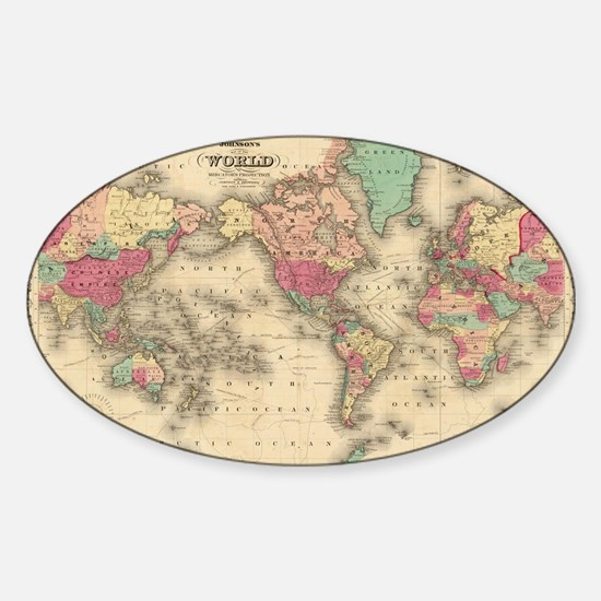 Vintage Map of The World (1860) Bumper Stickers