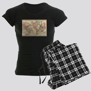 Vintage Map of The World (1860) Pajamas