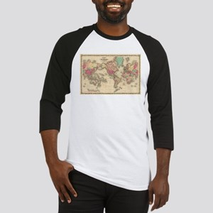 Vintage Map of The World (1860) Baseball Jersey