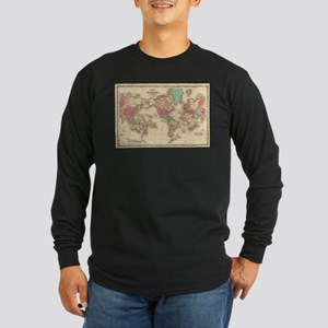 Vintage Map of The World (1860 Long Sleeve T-Shirt