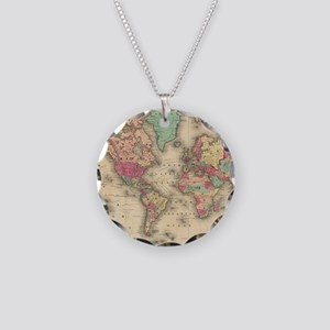 Vintage Map of The World (18 Necklace Circle Charm