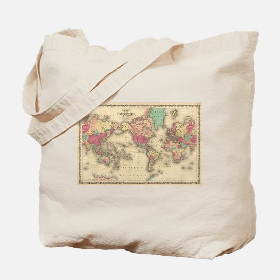 Vintage Map of The World (1860) Tote Bag