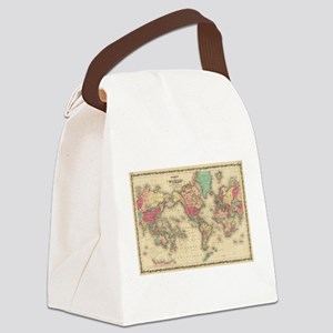 Vintage Map of The World (1860) Canvas Lunch Bag