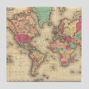 Vintage Map of The World (1860) Tile Coaster
