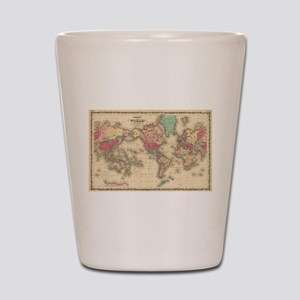 Vintage Map of The World (1860) Shot Glass
