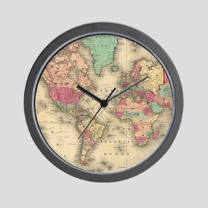 World map wall clocks cafepress vintage map of the world 1860 wall clock gumiabroncs Choice Image