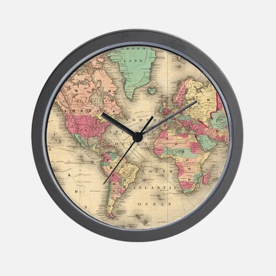 World map clocks world map wall clocks large modern kitchen vintage map of the world 1860 wall clock gumiabroncs Image collections