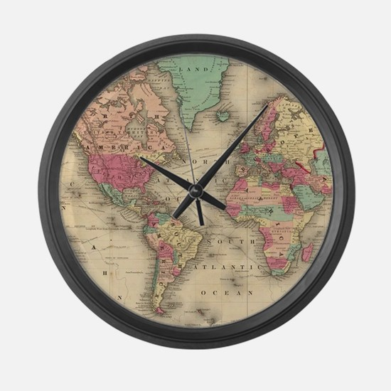 Vintage Map of The World (1860) Large Wall Clock