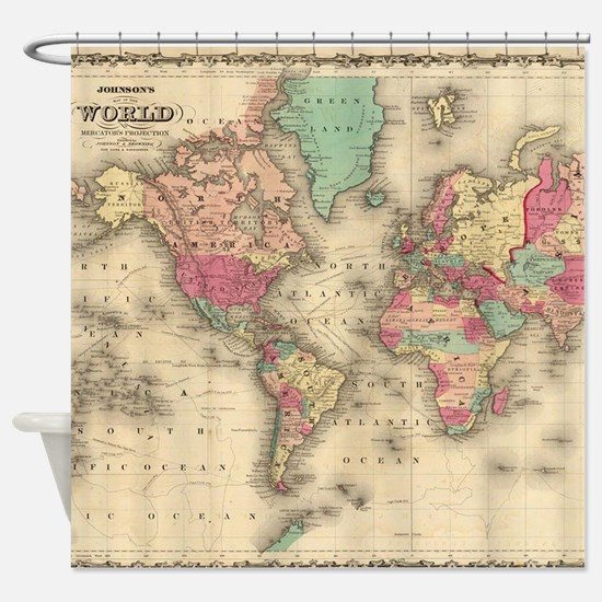 World map gifts merchandise world map gift ideas apparel vintage map of the world 1860 shower curtain gumiabroncs Choice Image