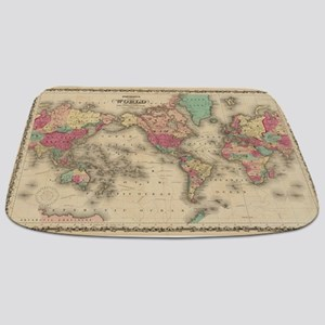 Vintage Map of The World (1860) Bathmat