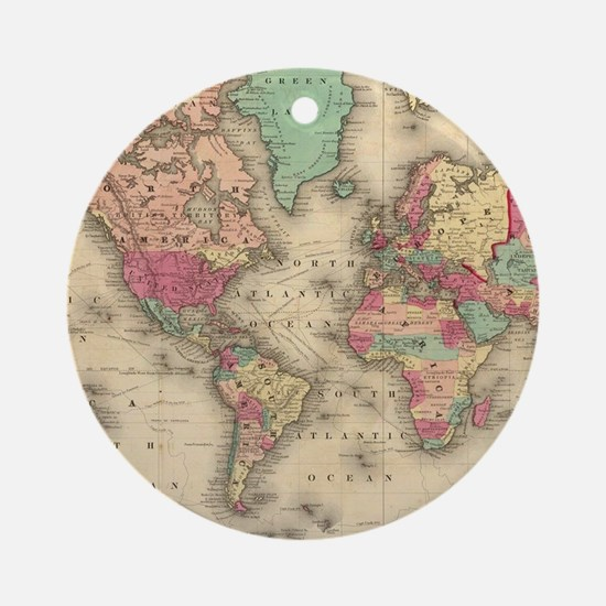Vintage Map of The World (1860) Round Ornament