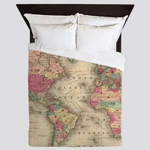Vintage Map of The World (1860) Queen Duvet