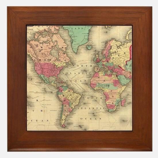 Vintage Map of The World (1860) Framed Tile