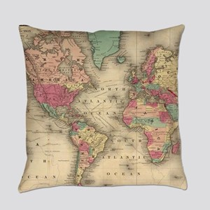 Vintage Map of The World (1860) Everyday Pillow