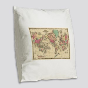 Vintage Map of The World (1860 Burlap Throw Pillow