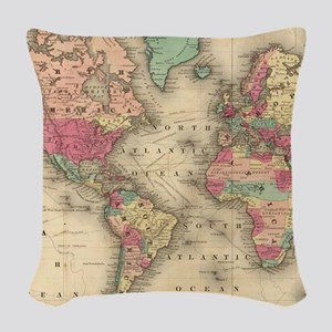 Vintage Map of The World (1860 Woven Throw Pillow