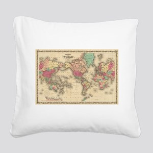 Vintage Map of The World (186 Square Canvas Pillow