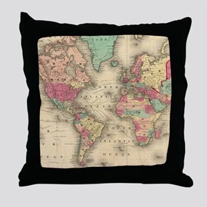 Vintage Map of The World (1860) Throw Pillow