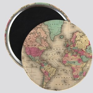Vintage Map of The World (1860) Magnets