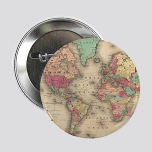 """Vintage Map of The World (1860) 2.25"""" Button"""