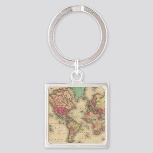 Vintage Map of The World (1860) Keychains