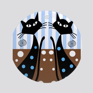 Whimsical Black Cats Ornament (Round)