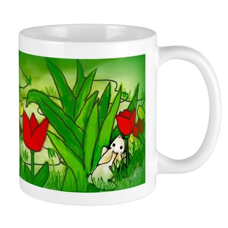 Bunny Loves the Smell Of Tulips Mugs
