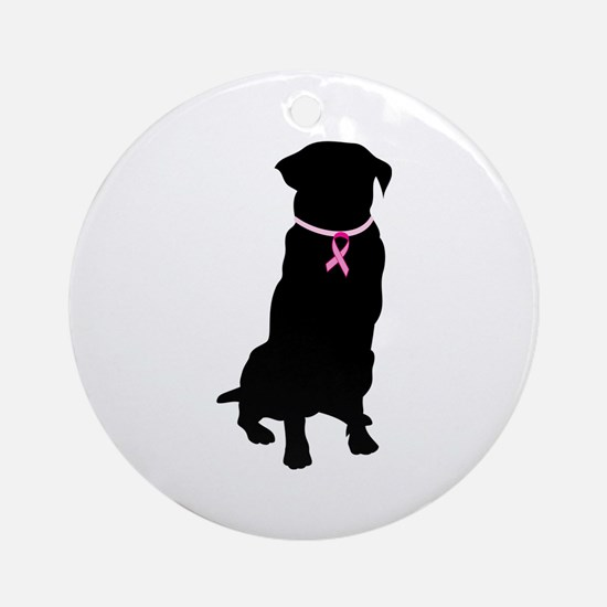 Golden Retriever Breast Cancer Support Ornament (R