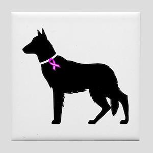 German Shepherd Breast Cancer Tile Coaster