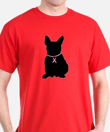 French Bulldog Breast Cancer Support T-Shirt