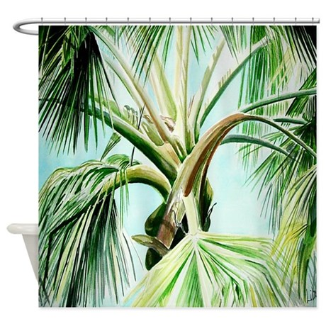 Palm Tree Watercolor Shower Curtain