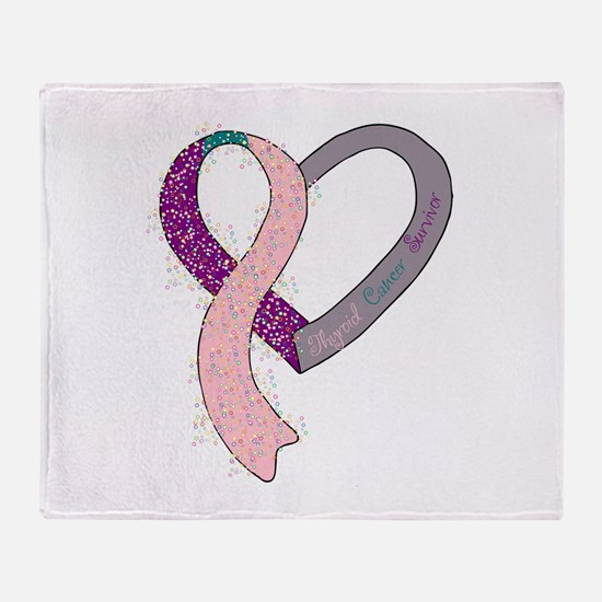 new heart ribbon PTPINK.png Throw Blanket