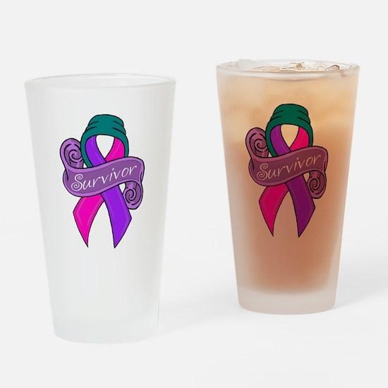 Sketch teal survivor.png Drinking Glass