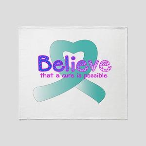 Believe Teal Throw Blanket