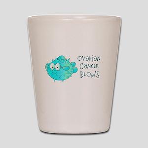 Ovarian Cancer Blows Shot Glass
