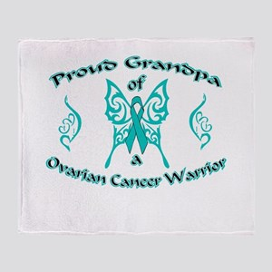 Proud Grandpa Ovarian Warrior Throw Blanket