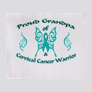 Proud Grandpa Cervical Warrior Throw Blanket