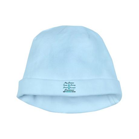 Teal Sister Words baby hat