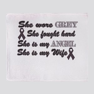She is Wife Grey angel Throw Blanket
