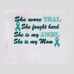 She is Mom Teal angel Throw Blanket