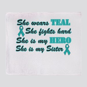 She is Sister teal Throw Blanket