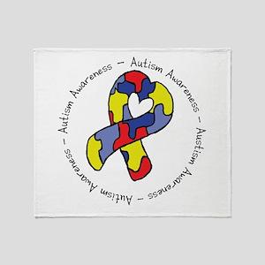 Autism Heart Ribbon Throw Blanket